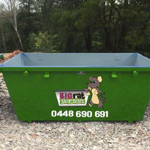 3 metre cube Skip Bin with Big Rat logo and phone number