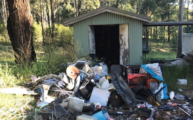 Rubbish from a shed ready to be removed by Big Rat Skip Bin