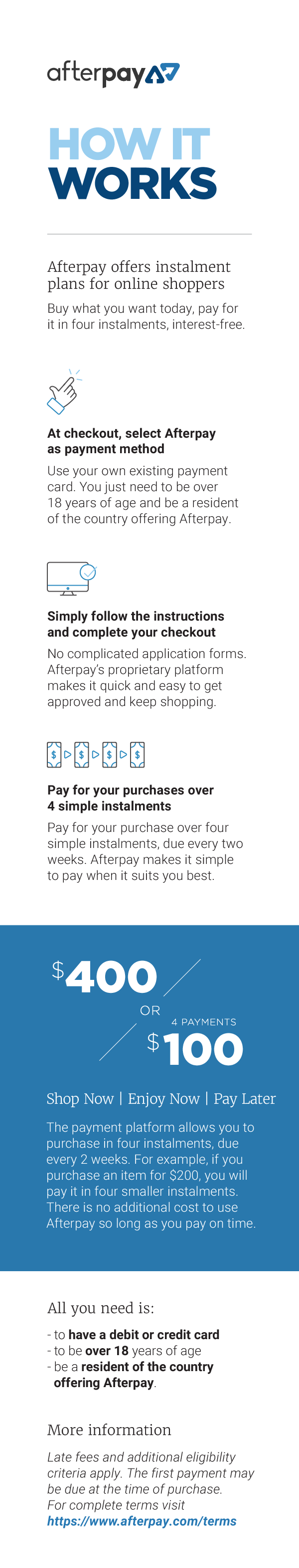Afterpay - How it Works - For Mobile